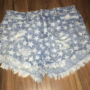 Pants - Starred Blue Jean Shorts